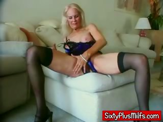Blonde granny getting warmed up