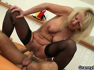 Old blonde is picked up for hard fucking