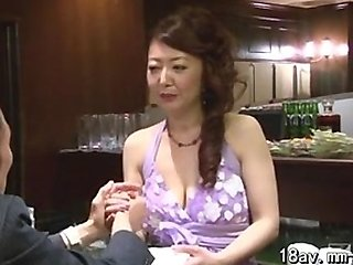 Nice japanese milf with saggy tits creampied
