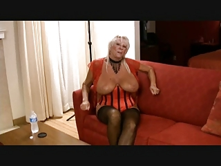 Blonde granny in corset gets double-black cocked