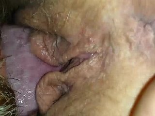 Husband with beard eating wifes sweet cunt