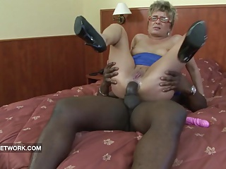 Granny caught masturbating anal fucked by big black cock